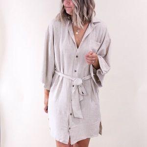 Linen button up beige dress